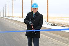 Twp Rd 240 Ribbon cutting with Mayor Chalmers