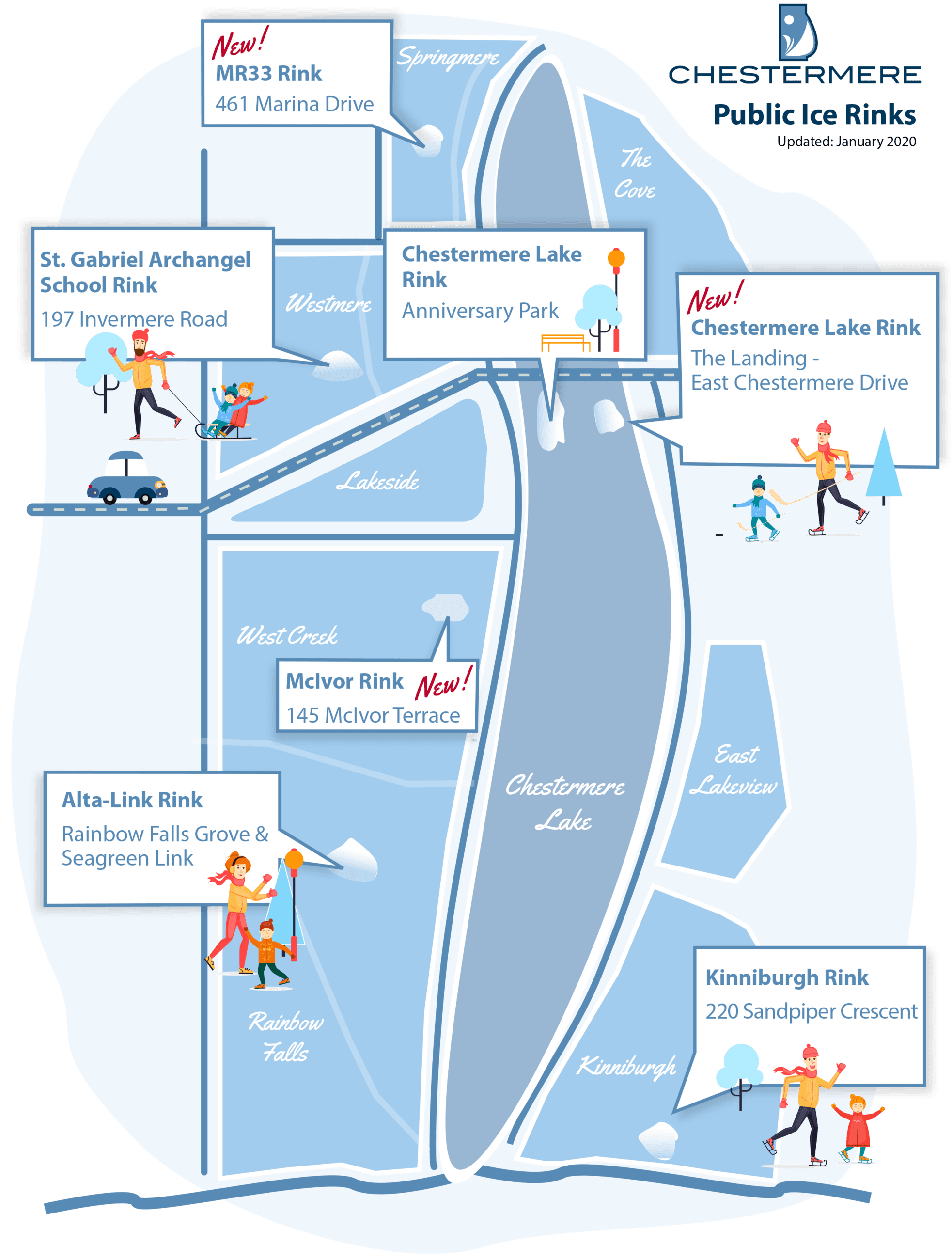 Chestermere Outdoor Skating rink locations
