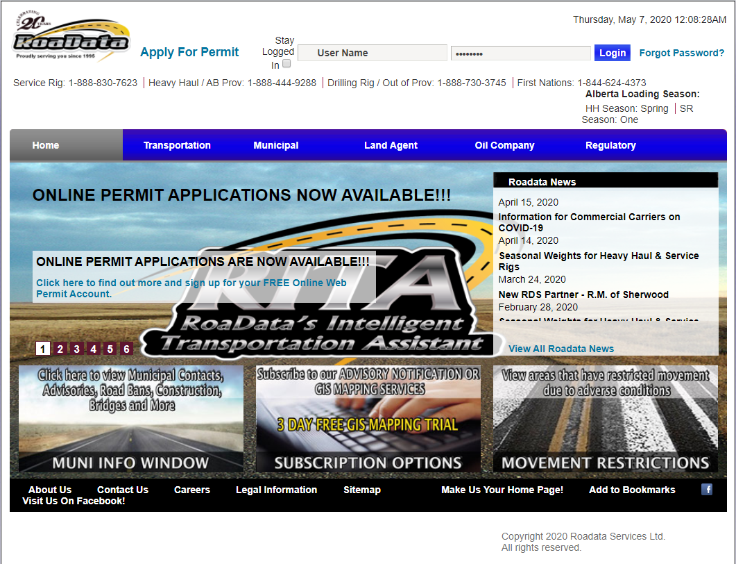 Roadata Services Ltd. homepage screencap. Opens in new window