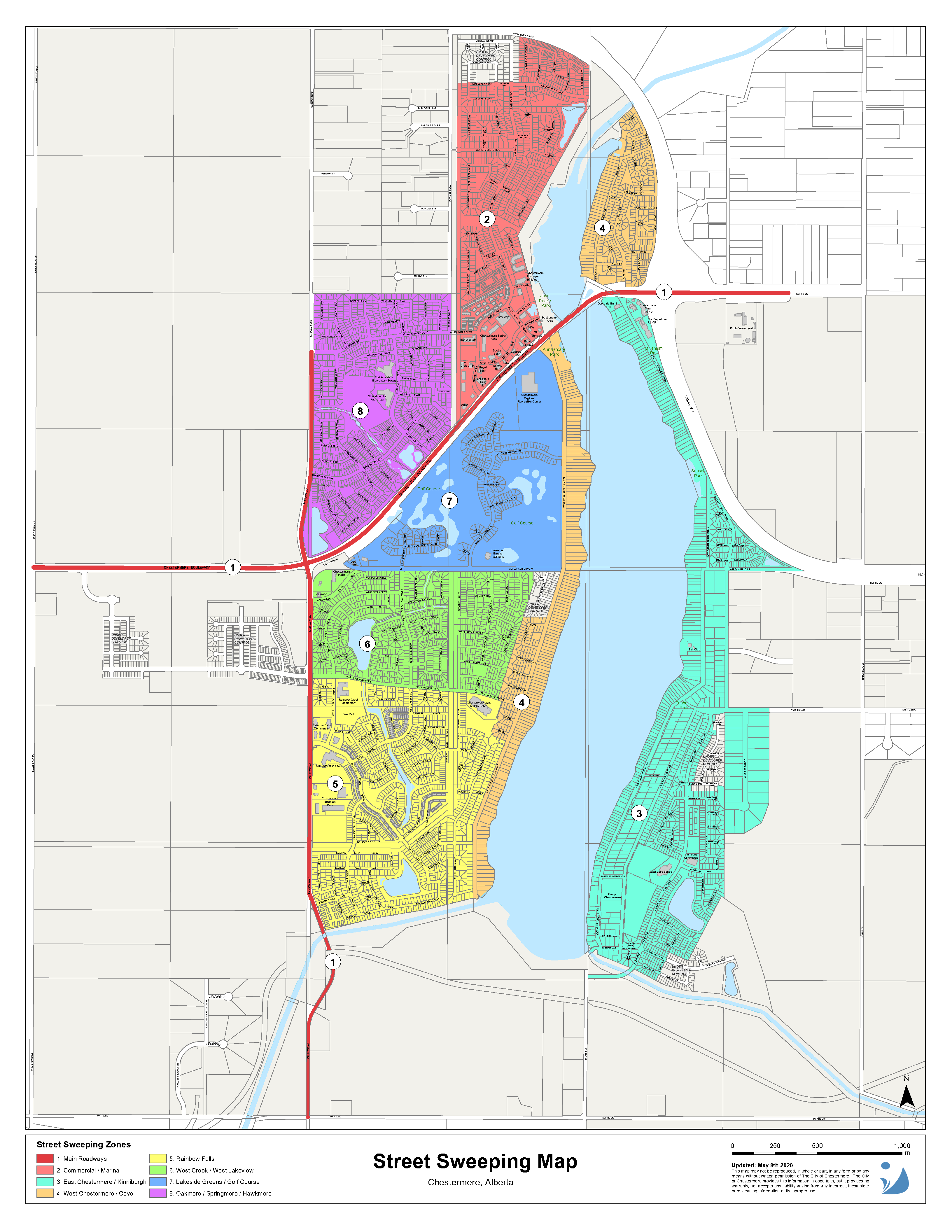 Street Sweeping Map showing the 8 zones in Chestermere. Opens in new window