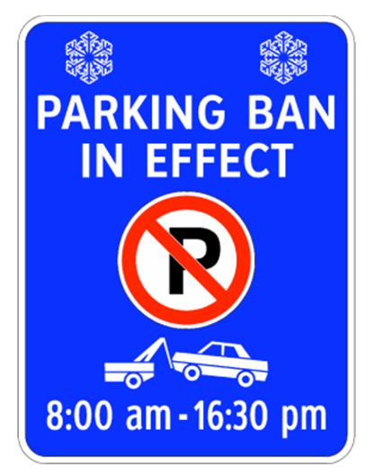 Parking Ban in Effect Sign